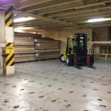 15,000 lb Forklift, inside Car Deck of a Vessel.