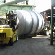 Moving a Kiln at Metalex with two 15,000 lb